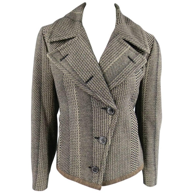 Dries van Noten Beige and Black Print Wool Pointed Lapel Jacket, Size 8  For Sale