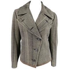 Dries van Noten Beige and Black Print Wool Pointed Lapel Jacket, Size 8