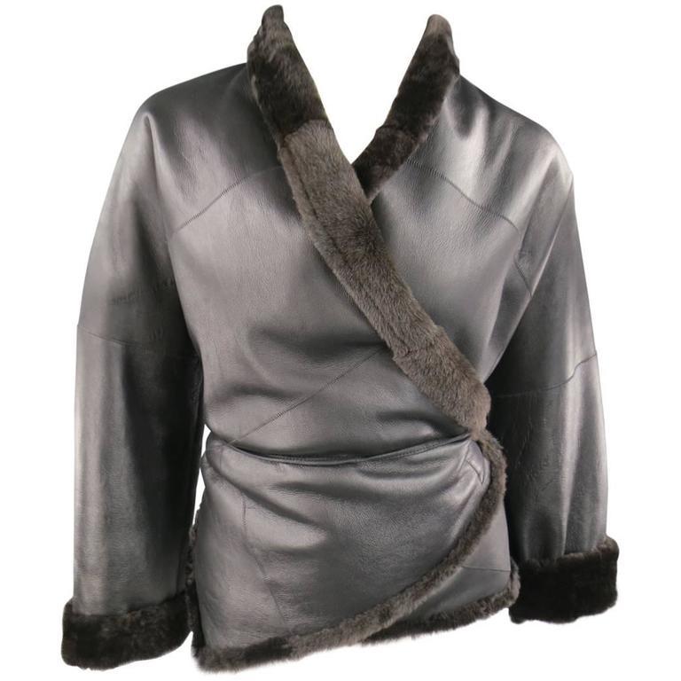 MAX MARA Size 2 Black & Brown Shearling Cropped Wrap Tie Jacket
