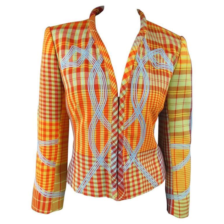 Christian LaCroix Orange and Yellow Plaid Hook Eye Jacket, Size 6