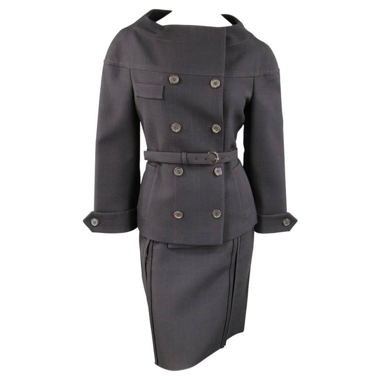 PRADA Size 10 Brown & Navy Plaid Wool High Neckline 60's Style Skirt Suit For Sale