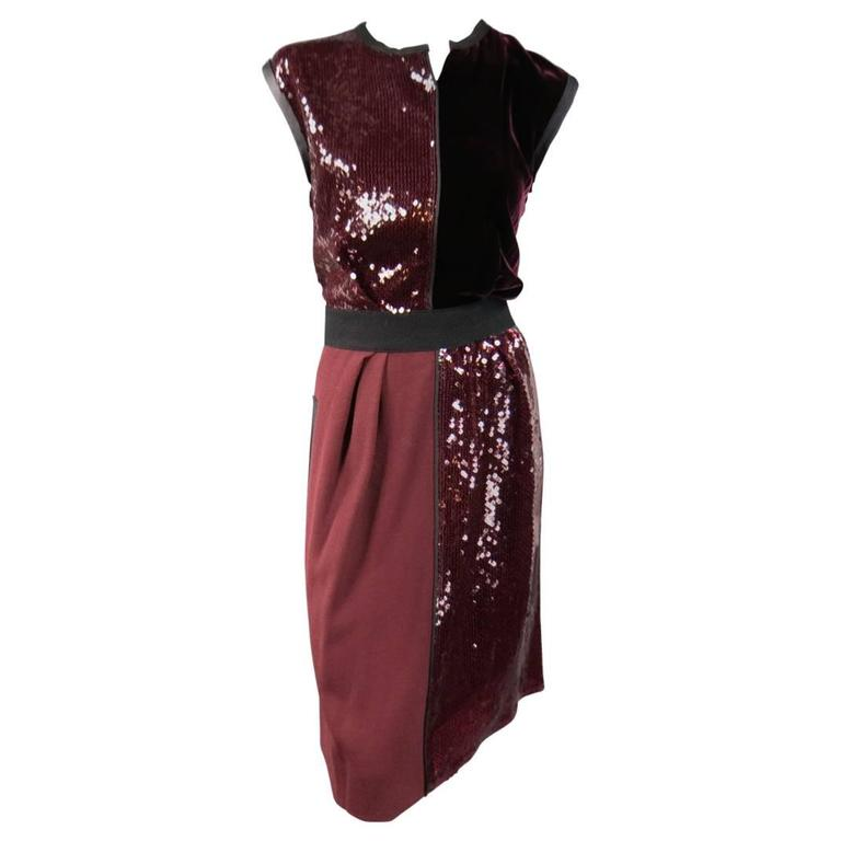 346190fe1bc MARC JACOBS Size 4 Burgundy Sequin   Velvet Patchwork Cocktail Dress For  Sale