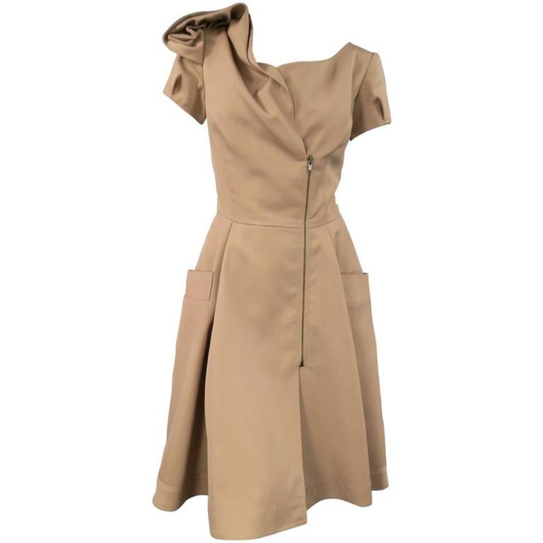 OSCAR DE LA RENTA Size 6 Beige Virgin Wool / Silk Short Embellished A Line Dress 1