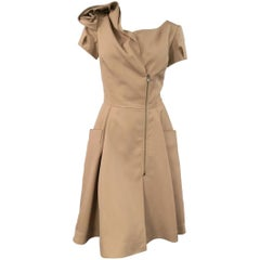 Oscar de la Renta Beige Wool and Silk Dress - Size US 6
