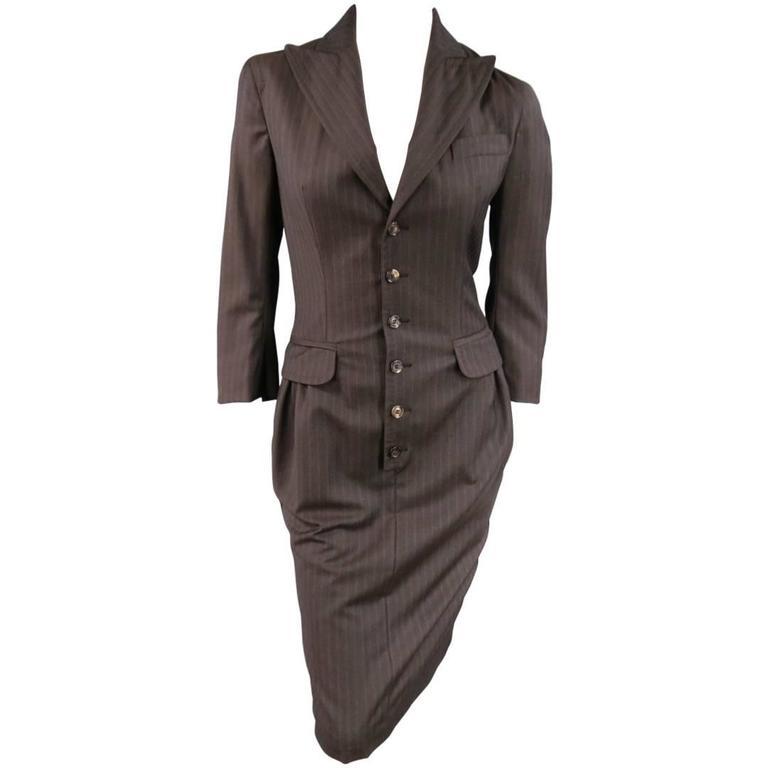 DSQUARED2 Size 8 Brown & Purple Pinstripe Wool Peak Lapel Suit Dress