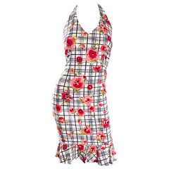 Vintage Moschino Cheap & Chic Size 4 1990s 3 D Plaid Flowers 90s Bodycon Dress