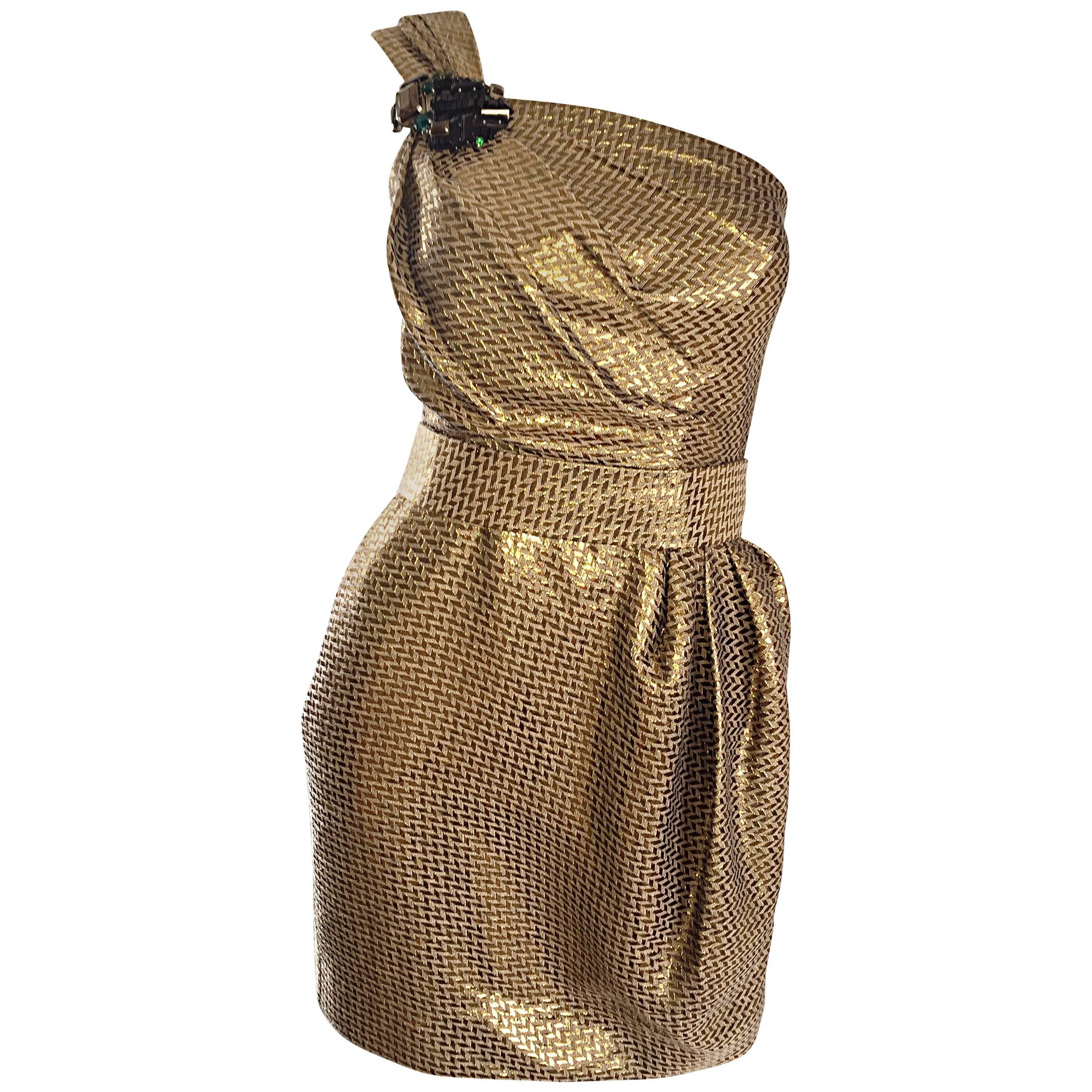 Matthew Williamson Gold / Bronze Jacquard Jeweled Belted One Shoulder Toga Dress