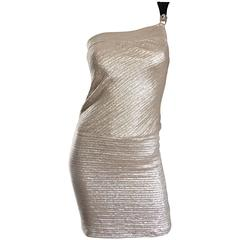 1990s Barbara Bui Silver and Gold One Shoulder Silk + Snakeskin Vintage Dress