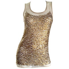 Gianfranco Ferre Vintage 90s Gold / Bronze Sequin Semi Sheer Illusion Blouse Top