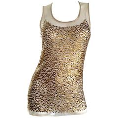 Gianfranco Ferre Vintage 90s Gold / Bronze Sequin Semi Sheer Illusion Blouse Top