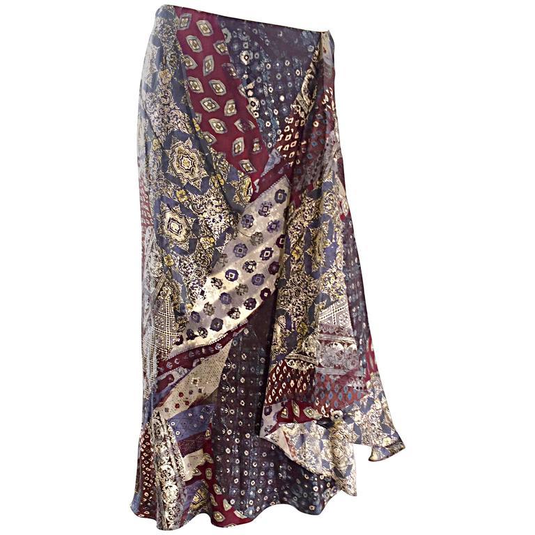 Vintage Kenzo Boho 1970s Asymmetrical French Paisley Printed 70s Silk Skirt 38