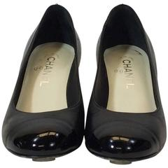 Chanel Black Leather Rounded Toe Wedge