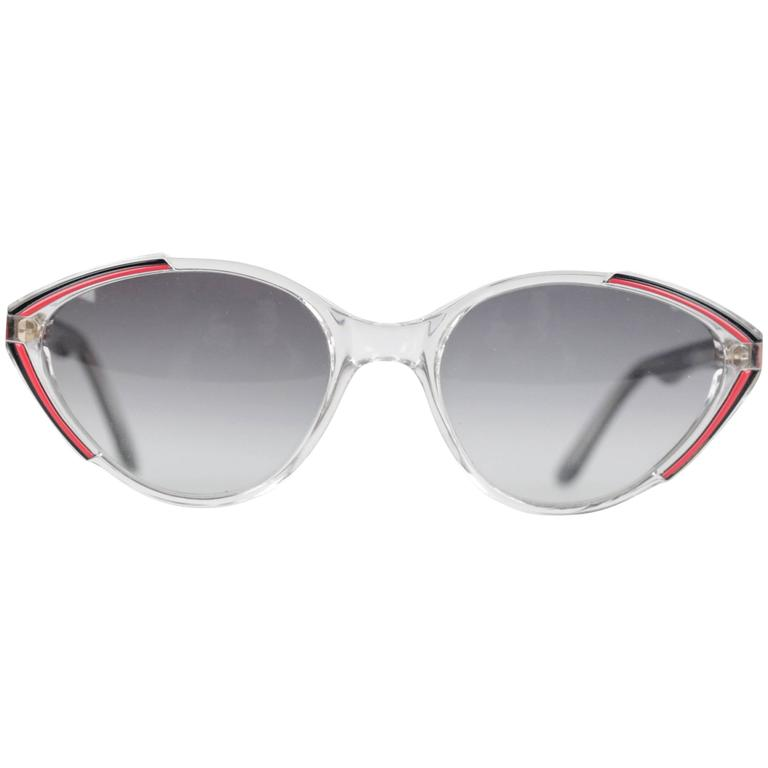 YVES SAINT LAURENT Vintage MINT womens Cat-Eye SUNGLASSES Black/red ASIOS 56-18 1