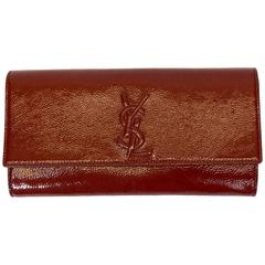 Yves Saint Laurent Rust Patent Leather Clutch