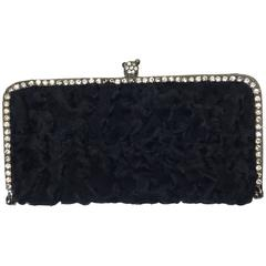 Clara Kasavina Handmade Black Fur Rhinestone Embellished Clutch