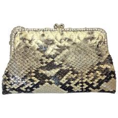 Clara Kasavina Handmade Snakeskin  Rhinestone Embellished Clutch