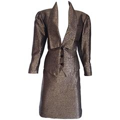 Ted Lapidus Haute Couture Vintage Taupe Bronze Metallic Fitted Skirt Suit Sz 36