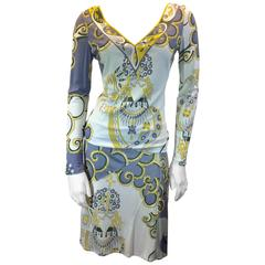 Emilio Pucci Beautiful Two Piece Graphic Print Blouse and Matching Skirt Set