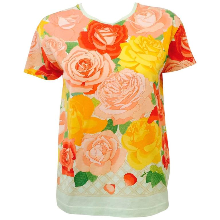 Hermes 100% Cotton Top With Regal Roses in Full Bloom Print