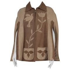 1970's Tan & Beige Suede Mexican Poncho Cape with Zip-Up Front