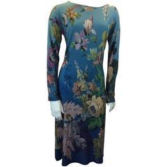 Etro Vintage Floral Print Midi Length Long Sleeve Shift Dress