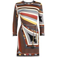 Early 1960's EMILIO PUCCI Signature Print Silk Jersey Dress Coppola E Toppo Belt