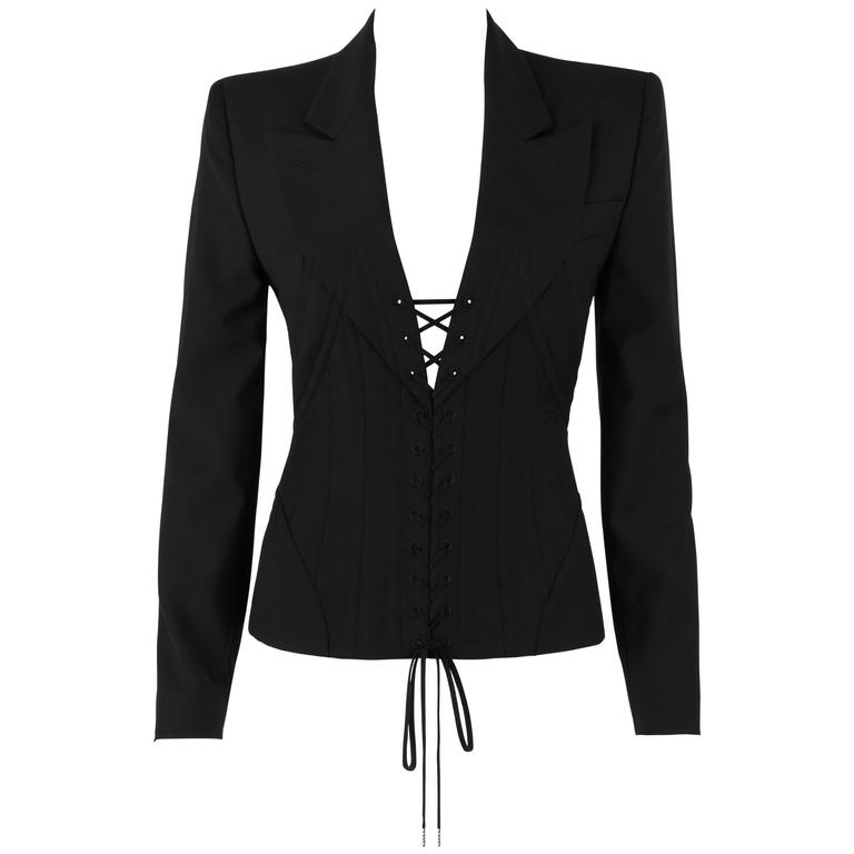 """ALEXANDER McQUEEN S/S 2002 """"Dance of the Twisted Bull"""" Black Corseted Blazer 44"""