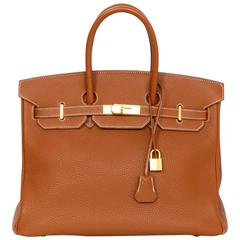 Hermes Gold/Tan Togo Leather 35cm Birkin Bag w/ Box & Dust Bag