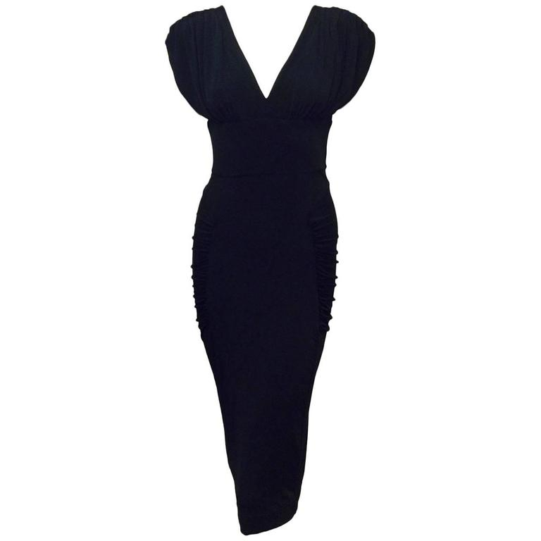 Just Cavalli Black Viscose Sheath Dress With Ruched Shoulders and Side Panels