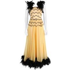 OOAK Vtg 1930's - 1940's Black Feather Trim Evening Ballroom Dance Dress Gown XS