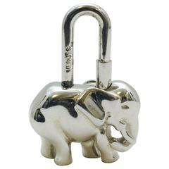 Hermes Silver Tone Elephant Cadena Charm Pendant Charm