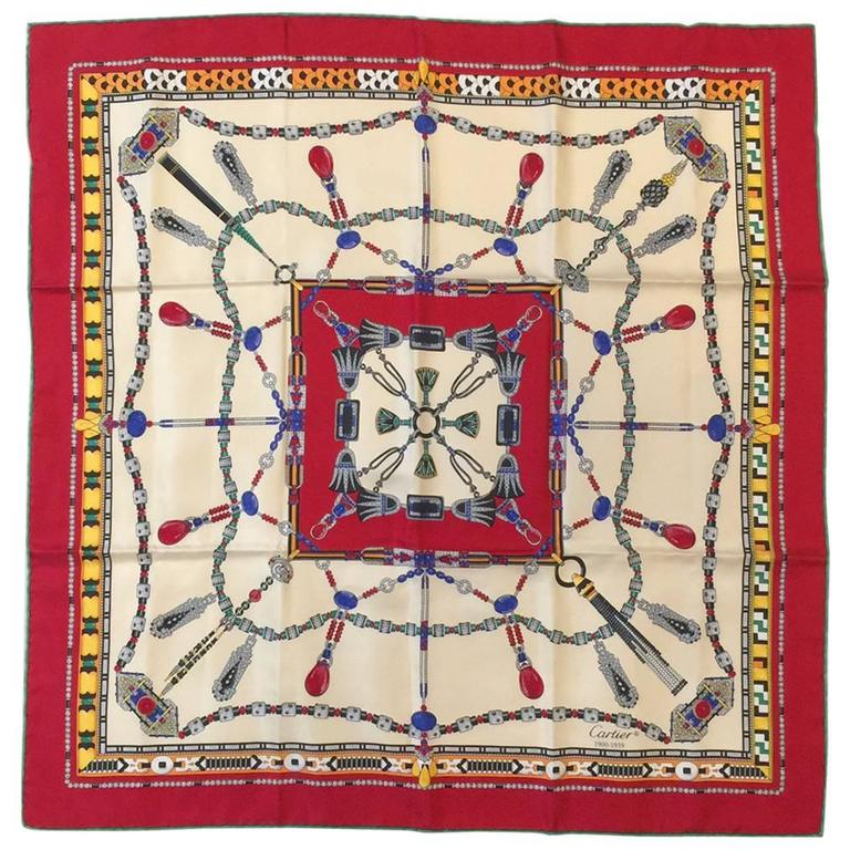 Cartier Red and Ivory Jeweled Silk Twill Carre Above Excellent Condition  For Sale