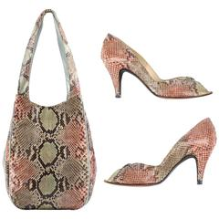 1970's HALSTON Multi-Color Pastel Python Snakeskin Handbag Shoes Pumps 6 1/2 Set