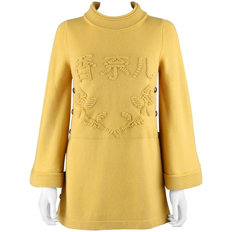 CHANEL PreFall 2010 Shanghai Collection Yellow Cashmere Tunic Knit Sweater Dress