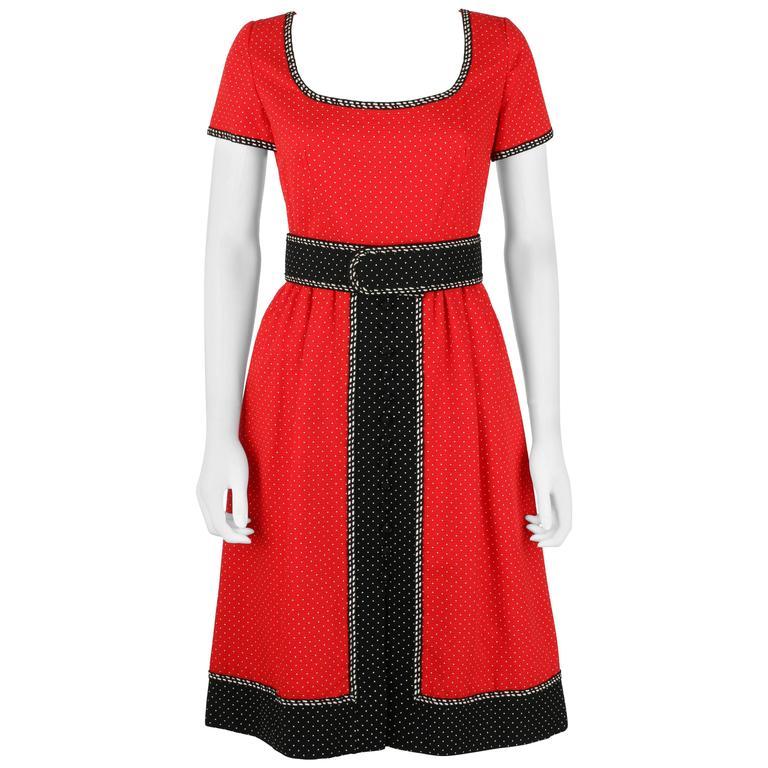 1960's Early OSCAR de la RENTA Boutique Red Polka Dot Short Sleeve Dress + Belt 1