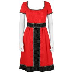 1960's Early OSCAR de la RENTA Boutique Red Polka Dot Short Sleeve Dress + Belt