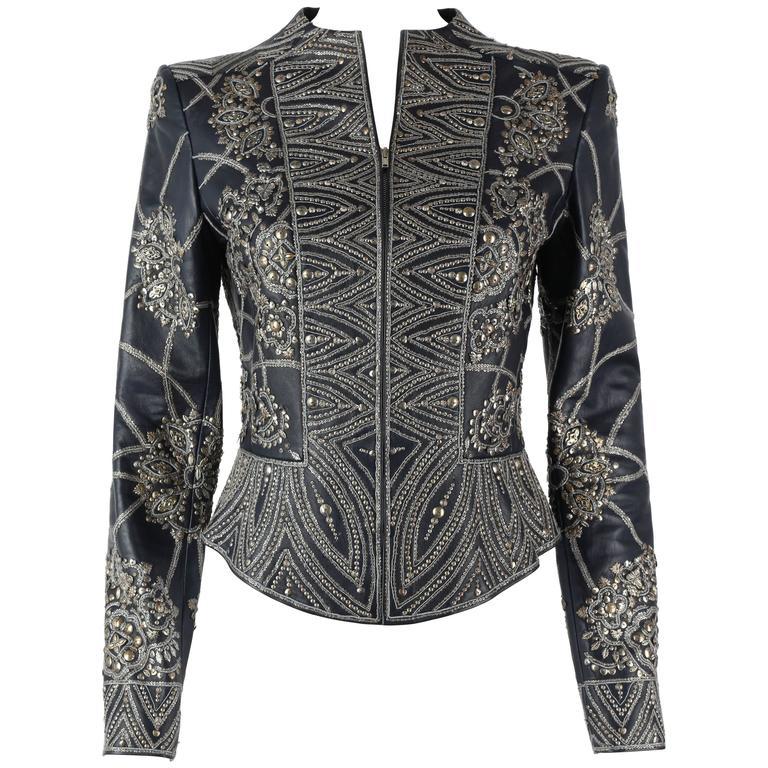 OSCAR de la RENTA A/W 2006 Navy Leather Royal Embellished Jacket Blazer Size 4 1