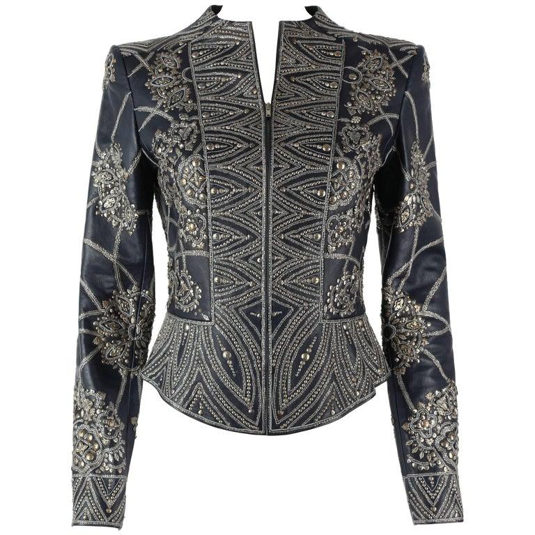 OSCAR de la RENTA A/W 2006 Navy Leather Royal Embellished Jacket Blazer Size 4 For Sale