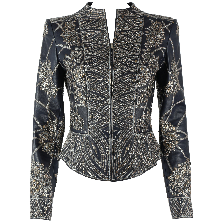 OSCAR de la RENTA A/W 2006 Navy Leather Royal Embellished Jacket Blazer Size 4