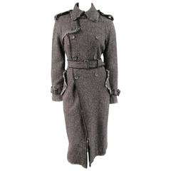 JUNYA WATANABE Size M Charcoal Wool Tweed Raw Edge Belted Cuffs Trench Coat