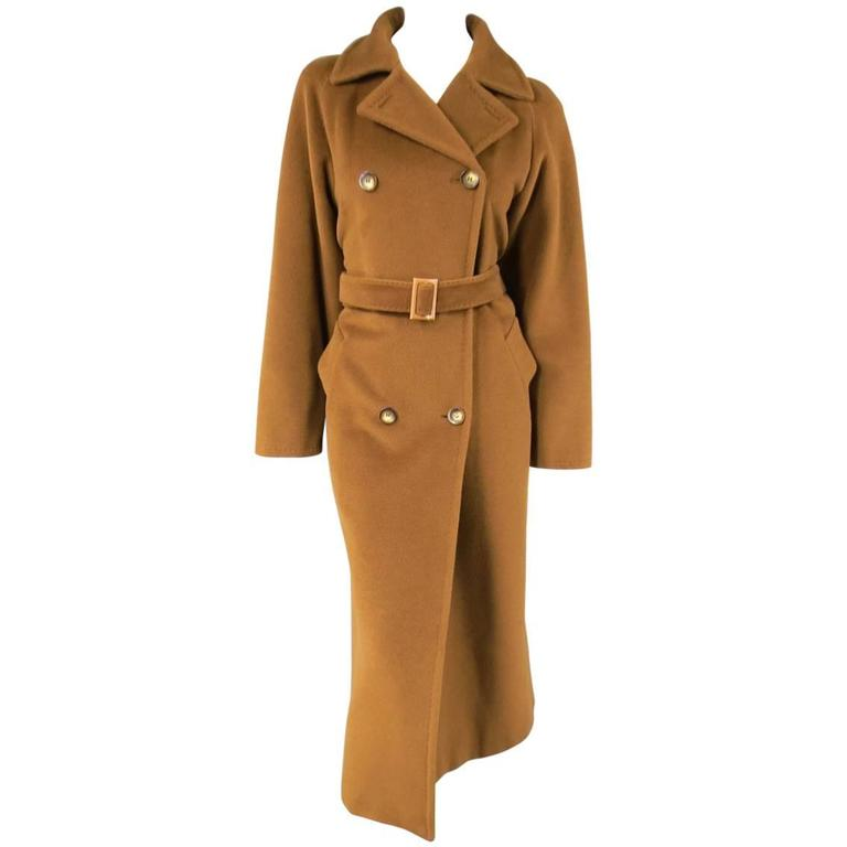 MAX MARA Size 6 Light Brown Virgin Wool/Cashmer Top Stitch Long Coat For Sale