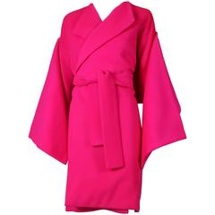Iconic 1980's Patrick Kelly Magenta Melton Wool Belted Coat w/Matching Scarf