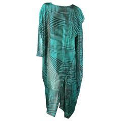 Vintage MISSONI Size M Teal & Black Striped Silk Blend Wrap Caftan Dress