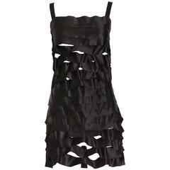 Vintage Issey Miyake Black Bodycon Mini Ribbon Dress w/Shoulder Straps