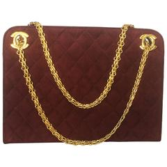 Vintage CHANEL genuine wine, bordeaux suede shoulder bag with golden chain strap