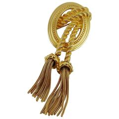 Christian Dior Vintage Iconic Medallion and Tassel Brooch