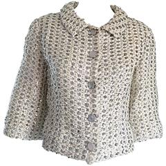 Geoffrey Beene For Teal Traina 1960s Silk Ivory + Silver Sequin Cropped Jacket