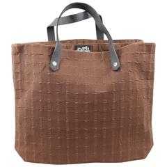 Hermes Double Brown Tote Bag in Leather and Cotton.