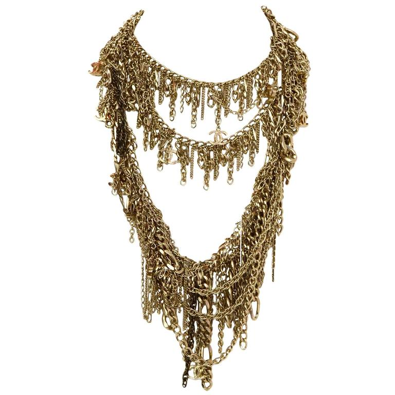 Chanel Extra Long Goldtone Multi Chainlink CC Necklace For Sale