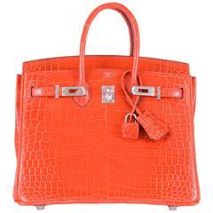 Birkin 25cm Hermes Birkin Crocodile Poppy Orange Pall hardware JaneFinds